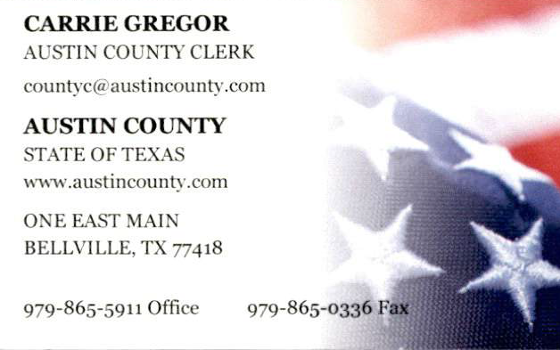 Image of Austin County Clerk with contact information for the office